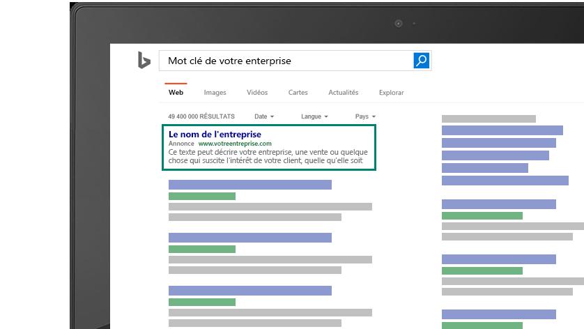 """Image d""""un écran d'ordinateur montrant à quoi ressemblerait l'annonce correspondant à votre mot-clé business sur Bing."""